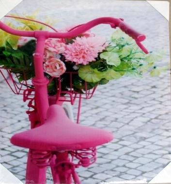 Cuadro bicicleta con flores