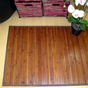 Alfombra de bambú pasillera chocolate