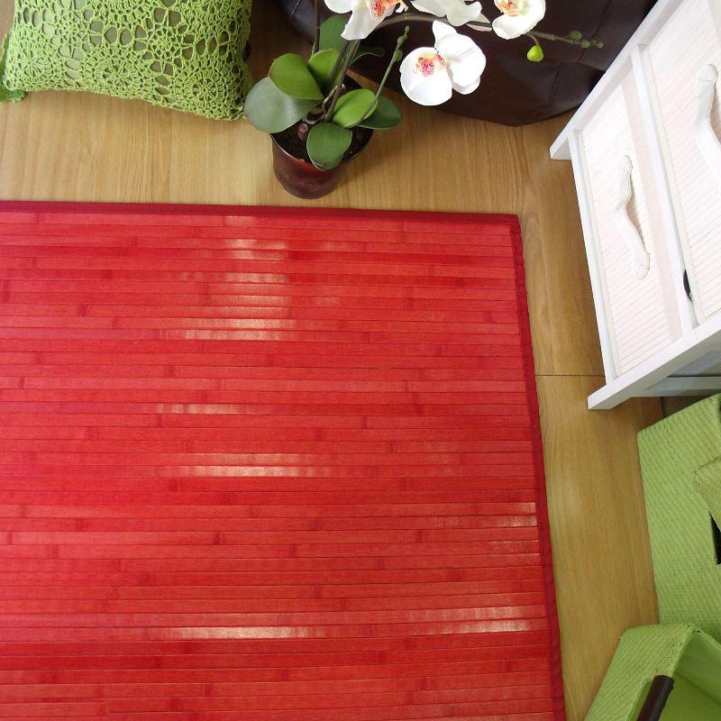 Alfombra de bambú rectangular roja