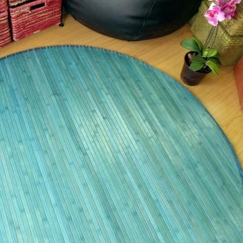 Alfombra de bambú redonda turquesa