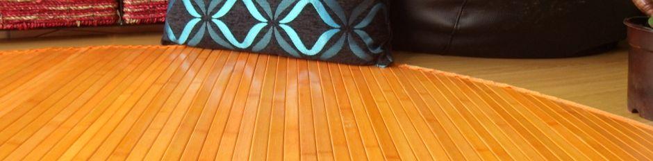 Alfombra de bambú naranja redonda