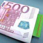 Billetera con dibujo de billete de 500 euros