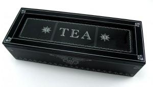 Caja de té alargada lacada en negro