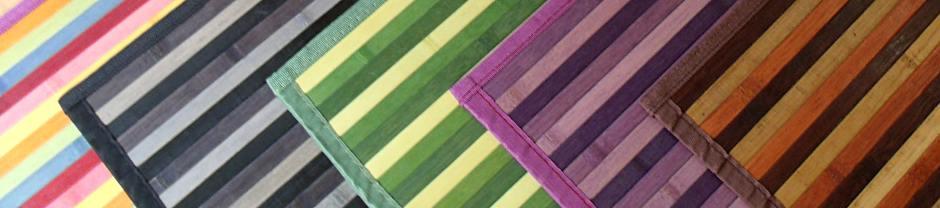 Alfombras de bambú multicolores