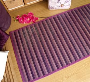 Alfombra de bambú para pasillos lila