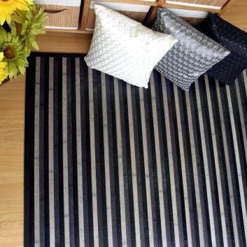 Alfombra de bambú en tonos negros