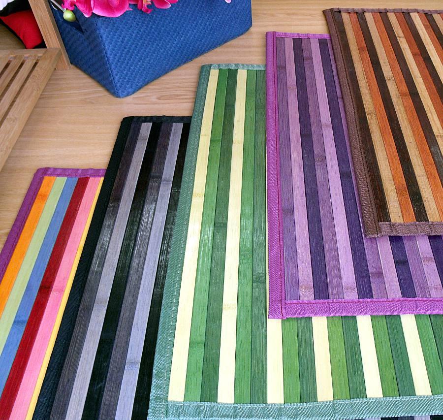 Alfombras de bambú colores surtidos