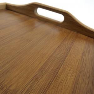 Bandeja de madera de bambú con patas
