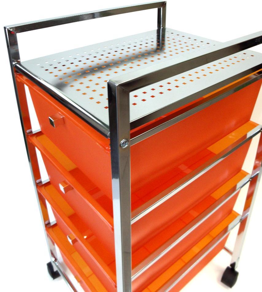 Mesa con cajones naranja