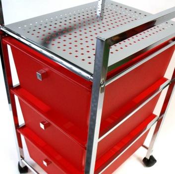 Mueble auxiliar de cocina y baño rojo