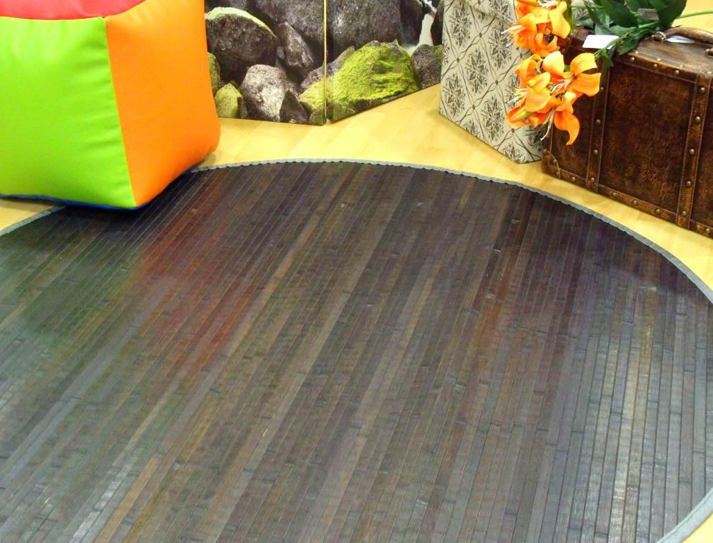 Alfombra gris de bambú
