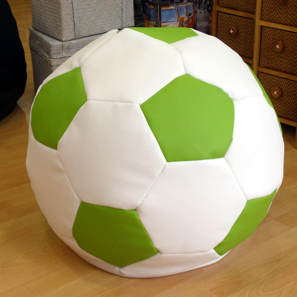 Puff balón blanco y verde