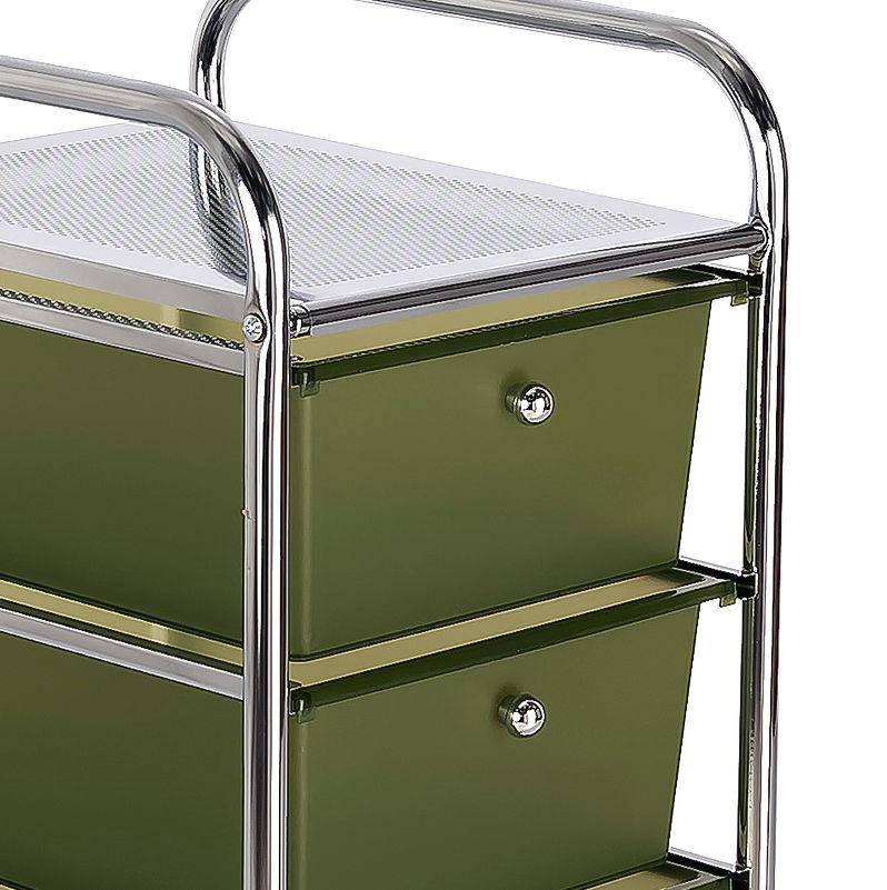 Mueble auxiliar metálico con ruedas y cajones