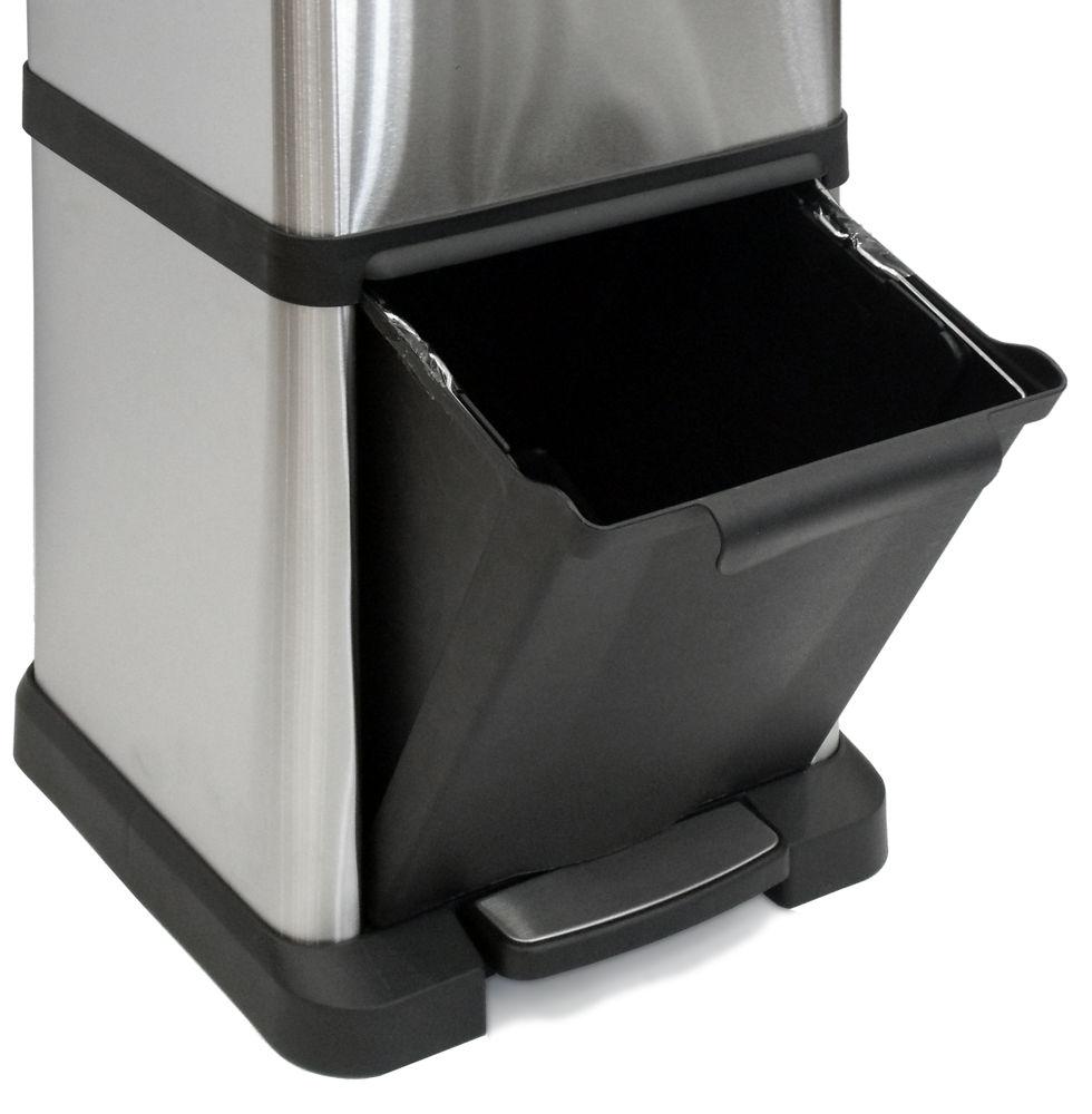 Cubo de reciclaje con tres huecos