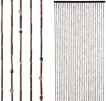Cortina de tiras de madera natural