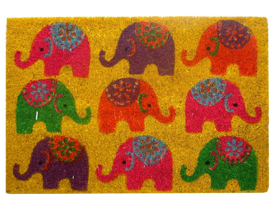 Felpudo estampado elefantes de colores