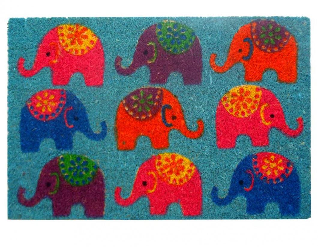 Felpudo estampado con elefantes
