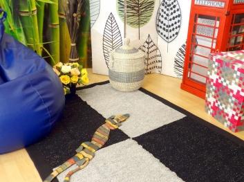 Ambiente con puff y alfombras