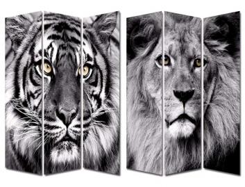 Biombo estampado con fotos de leones