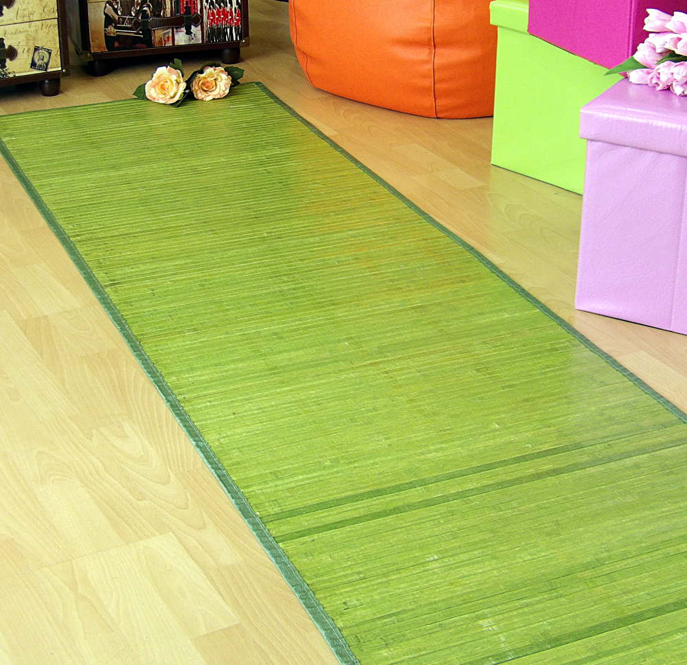 Alfombra bambú verde