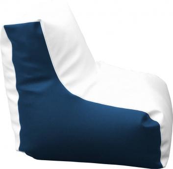 Puff con respaldo azul y blanco