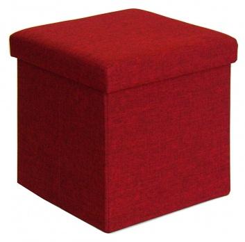Puff cuadrado liso rojo
