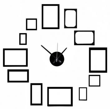 Reloj autoadhesivo para pared con portaretratos