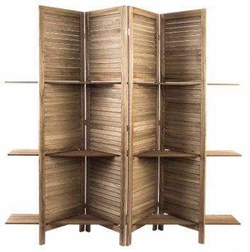 Biombo con estantes de madera