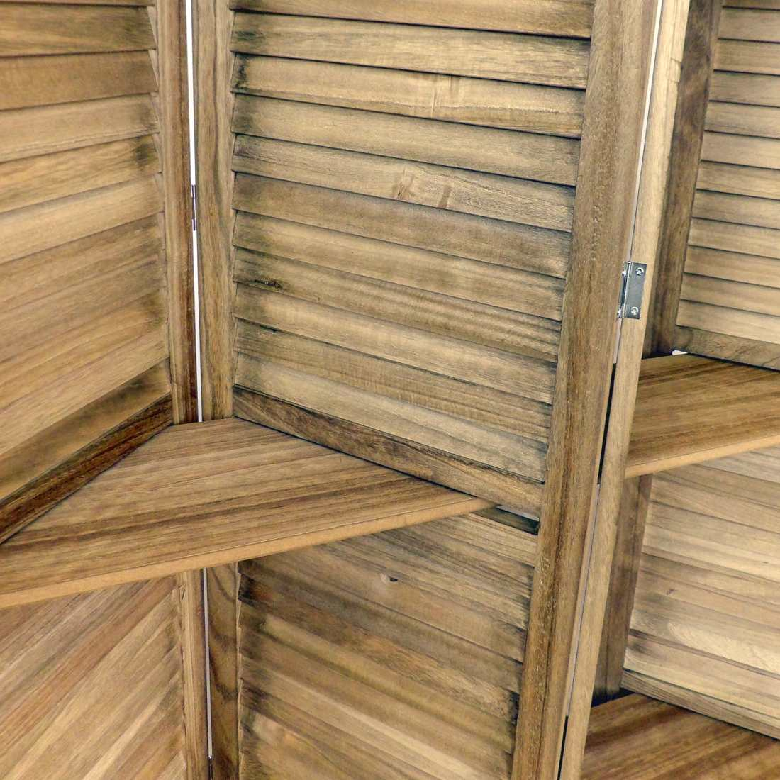 Biombo estantería de madera