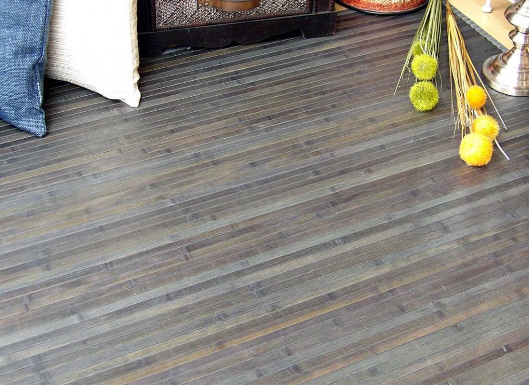 Alfombra bambú lámina gris