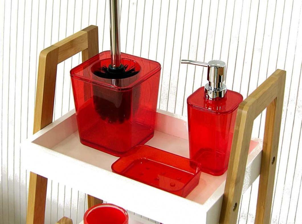 Juego de baño acrílico rojo