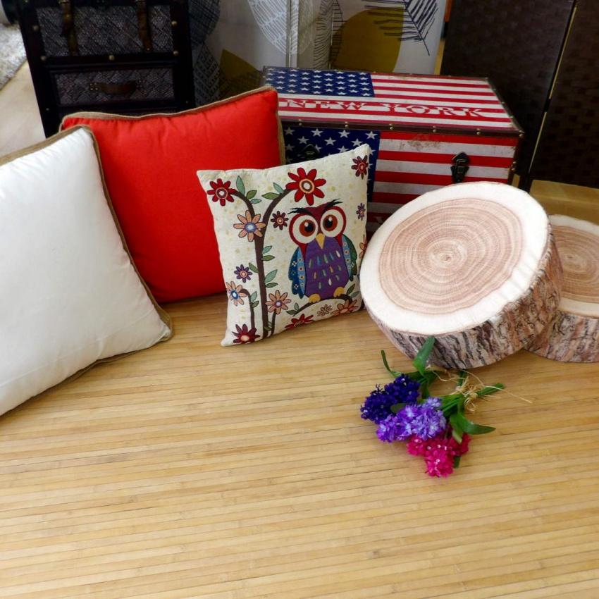 Alfombra de madera y complementos decoración