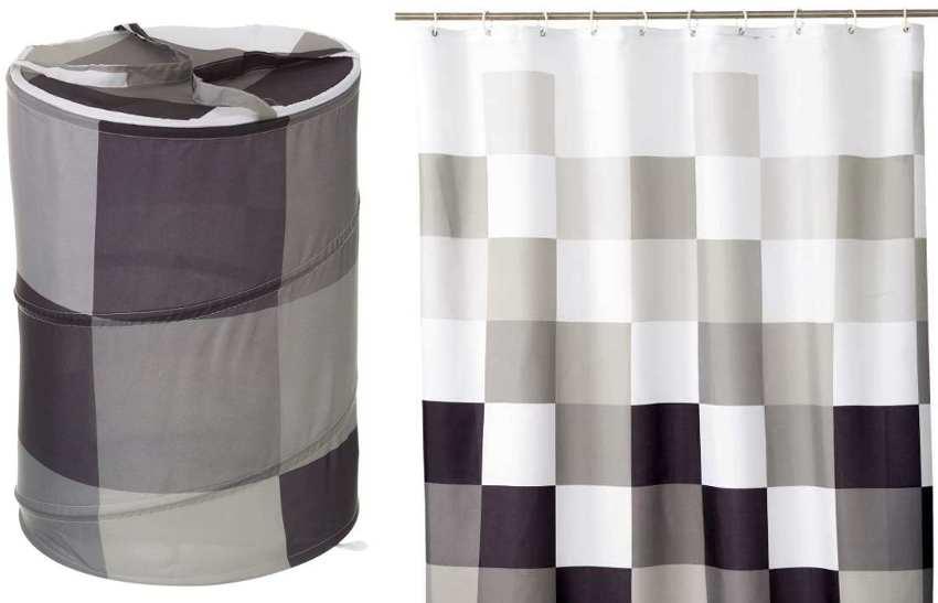 Coordinado cortina de baño y cesta de ordenación