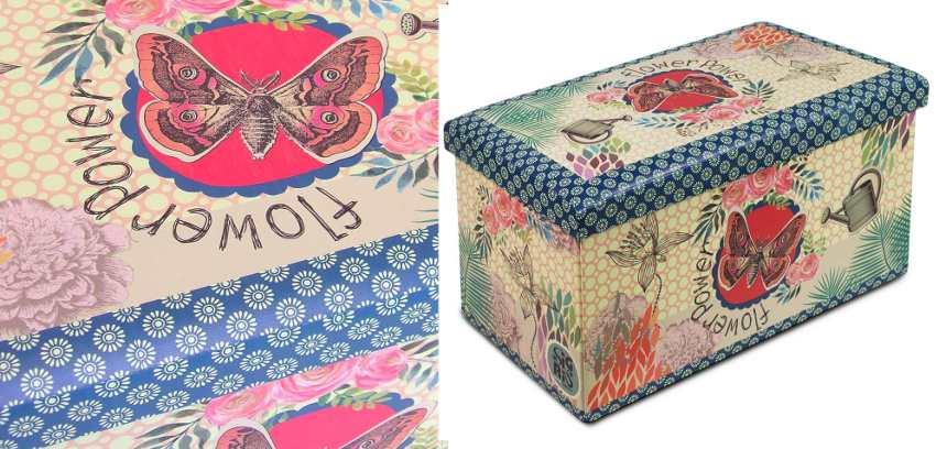 Baúl con caja de ordenación y mariposas