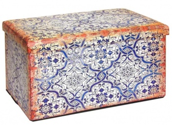 Puff arcón de estilo azulejos