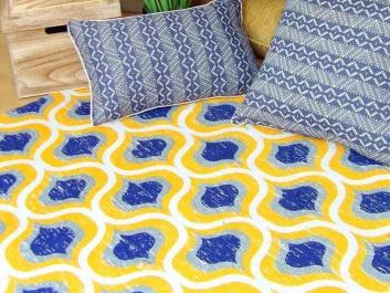 Alfombra algodón azul y amarilla