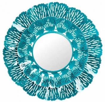 Espejo de pared redondo azul turquesa