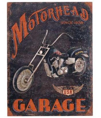 Cuadro madera y metal con moto