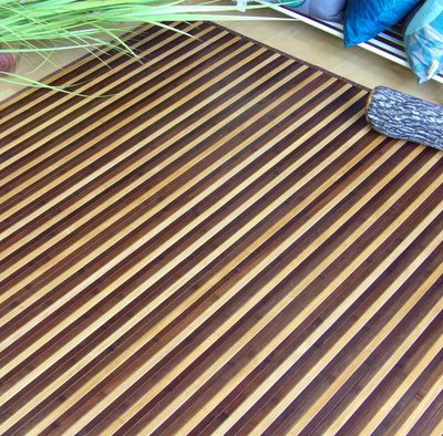 Alfombra de bambú a rayas