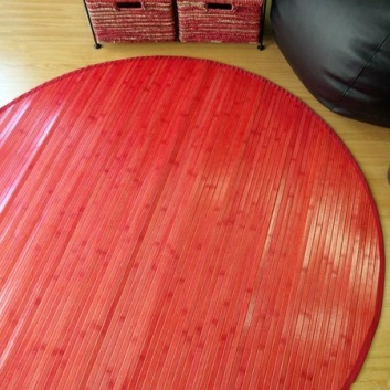 Alfombra redonda roja