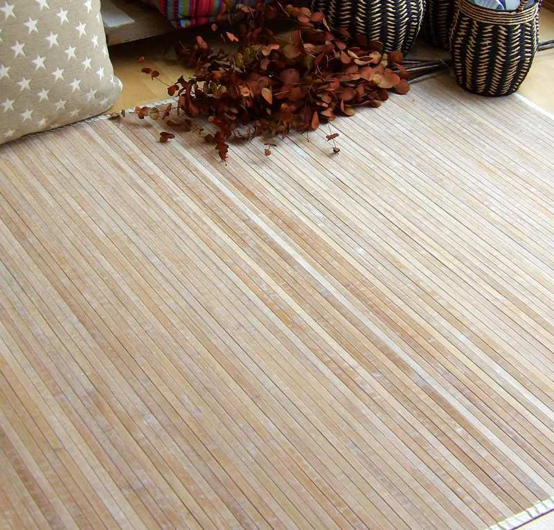 Alfombra bambú decapada natural
