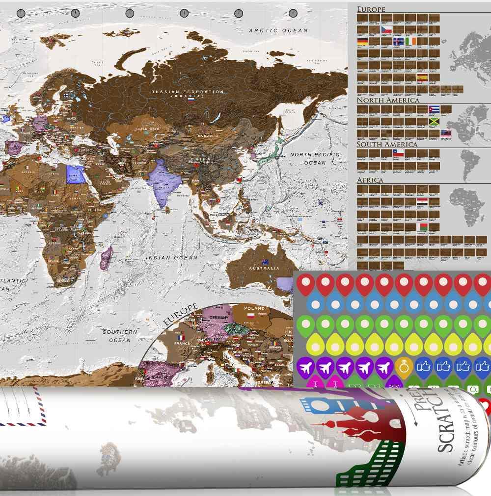 Mapamundis de países para rascar