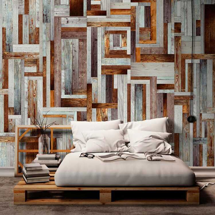 Papel pintado con patrón de madera
